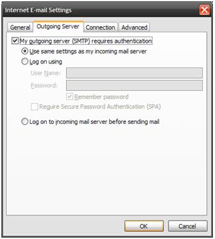 Outlook Outgoing Server Settings